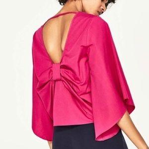 Zara NWT Hot Pink Bow Shirt